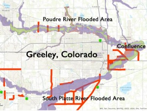 Map of the flooding surrounding Greeley, Colorado