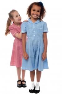Two Joyous Elementary School Girls