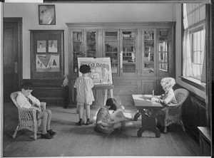 Schools. Interior with children painting, reading and writing; Gottscho-Schleisner Collection (Library of Congress)