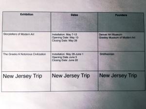 Last summer's exhibit schedule