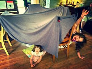Rainy Day fort making with mom and grandma