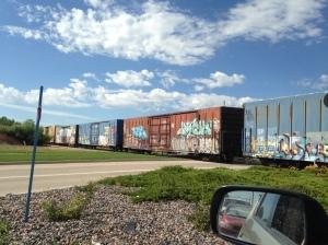 graffiti covered train cars