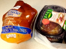 "A tale of two turkeys - one ""fully cooked"" one ready to eat."