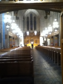 an old cathedral with empty pews