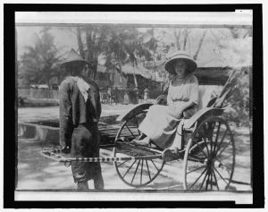 Marguerite Thompson Zorach sitting in a rickshaw Library of Congress Prints and Photographs Division Washington, D.C. 20540 USA http://hdl.loc.gov/loc.pnp/pp.print